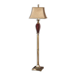 Uttermost - Uttermost Rory Floor Lamp in Burgundy Ceramic - Shown in picture: Burgundy Ceramic With Bronze Metal Details. This lamp features burgundy ceramic with bronze metal details. The rectangular bell shade is a silken taupe textile with trim.