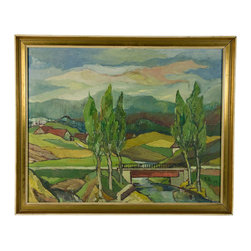 Lavish Shoestring - Consigned Expressionist German Rural Landscape Oil Painting - What you need to know