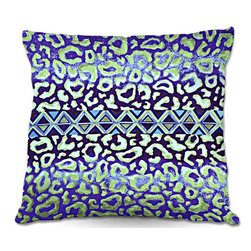 DiaNoche Designs - Pillow Linen by Julia Di Sano - Leopard Trail Blue - DiaNoche Designs works with artists from around the world to create astouding and unique home decor products.  Add a little texture and style to your decor with our Woven Linen throw pillows.  The material has a smooth boxy weave.  Each pillow is machine loomed, then printed and sewn ALL IN THE USA!!!  100% smooth poly with cushy supportive pillow insert with a hidden zip closure. Dye Sublimation printing adheres the ink to the material for long life and durability. Double Sided Print, machine wash upon arrival for maximum softness. Product may vary slightly from image.