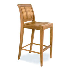 Westminster Teak Furniture - Laguna Teak Armless Bar Stool - Take the cocktail party outdoors with this teak bar chair. It has a transitional style that sits well with both traditional and modern settings. Generously proportioned, it has a scooped seat and lumbar backrest to keep your guests comfortable.