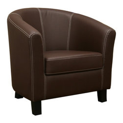 Wholesale Interiors - Elijah Dark Brown Faux Leather Modern Club Chair - A cleanly-designed club chair, this modern design is made with dark brown faux leather featuring contrasting white stitching. Finish off a living area with one or a pair of these comfortable foam-filled chairs, constructed with a wooden frame and black wood legs. Non-marking feet are included to help prevent scratches on your hard flooring. The cushion is not removable, and assembly is required (the legs must be attached).