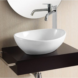 "Caracalla - Contemporary Oval Ceramic Vessel Bathroom Sink - This beautiful oval vessel sink is made of ceramic in a simple contemporary design. This model comes without an overflow and has no faucet hole. Sink is designed in Italy by Caracalla. Sink dimensions: 15.35"" (width), 5.51"" (height), 12.80"" (depth)"