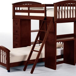 NE Kids - Schoolhouse Student Loft Bed - Cherry - FUB389 - Shop for Bunk Beds from Hayneedle.com! The Schoolhouse Student Loft Bed - Cherry is a complete station for the hard-working student encouraging a balance between work and rest - though a bit of extra rest couldn't hurt. This loft is masterfully crafted from solid hardwood and finished in dark cherry for unparalleled loveliness and strength. What makes this bed truly unique are the desk and chest ends able to be placed at either side to suit any placement in the room. The desk may even be turned outward or inward depending on your child's preference or spatial constraints. Included are a ladder and guardrail for safety and you may choose to add the optional lower bed if you like. The loft measures 80L x 42W x 67.75H inches. The lower bed measures 80.75L x 42W x 24H inches. We take your family's safety seriously. That's why all of our bunk beds come with a bunkie board slat pack or metal grid support system. These provide complete mattress support and secure the mattress within the bunk bed frame. Please note: CPSC recommends the tops of the guardrails must be no less than 5 inches above the top of the mattress and that top bunks not be used for children under 6 years of age. About New Energy KidsNE Kids is a company with a mission: to create and import truly unique furniture for your child. For over thirty years they've been accomplishing this mission with flying colors one room at a time. Not only will these products look fabulous they will provide perfect safety for your children by adhering to the highest standards set by the American Society for Testing and Material and the Consumer Products Safety Commission. Your kids are in the best of hands and everyone will appreciate these high-quality one-of-a-kind pieces for years to come.