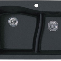 """Swanstone - Swanstone QZLS-3322.077 Drop-In Large/Small Bowl Kitchen Sink, Nero - The Swanstone Classics Collection presents the Swanstone granite Lg/Sm bowl kitchen sink in Nero. The granite single bowl kitchen sink from Swanstone features the same features as the drop-in version in a dedicated undermount model. Made with 80% actual quartz natural stone, the Swanstone granite undermount sink is virtually indestructible, only diamond is a harder material. The Swanstone granite undermount large double bowl kitchen sink offers a unique, contemporary design that adds style to any kitchen. Providing a full range of products with a distinct American feel, this Swanstone collection epitomizes the ideal that quality and value never go out of style. Features: -Swanstone Classics Collection. -Granite Lg/Sm bowl kitchen sink. -Can be used as a drop in or undercounter sink. -10"""" deep bowl. -Sink has three starter holes underneath sink. -The low divider allows for the enormous capacity of a large single bowl sink, holding large pans and sheets. -The divider is as optimum height for filling a pot without emptying the sink. -The back half of the divider curves, allowing more space in the sink basin. -The low divider provides separate areas for food preparation and cleanup. -Drop-in Installation or under counter. -Made with 80% actual quartz natural stone. -Virtually indestructible, only diamond is a harder material. -Swanstone's limited lifetime warranty. -Dimensions: 33""""W x 22""""D."""