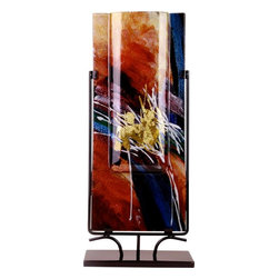 Bronze Age - Red and Gold Rectangular Fused Glass Vase Display - This gorgeous Red and Gold Rectangular Fused Glass Vase Display has the finest details and highest quality you will find anywhere! Red and Gold Rectangular Fused Glass Vase Display is truly remarkable.