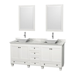 "Wyndham Collection - 72"" Acclaim White Double Vanity w/ White Carrera Top & Pyra White Porcelain Sink - Sublimely linking traditional and modern design aesthetics, and part of the exclusive Wyndham Collection Designer Series by Christopher Grubb, the Acclaim Vanity is at home in almost every bathroom decor. This solid oak vanity blends the simple lines of traditional design with modern elements like beautiful overmount sinks and brushed chrome hardware, resulting in a timeless piece of bathroom furniture. The Acclaim comes with a White Carrera or Ivory marble counter, a choice of sinks, and matching mirrors. Featuring soft close door hinges and drawer glides, you'll never hear a noisy door again! Meticulously finished with brushed chrome hardware, the attention to detail on this beautiful vanity is second to none and is sure to be envy of your friends and neighbors"