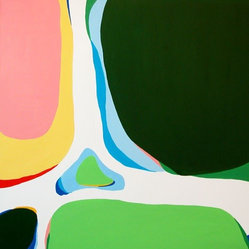 Barbara Owen - Abstract Oil Painting II - Vibrant green, blue, pink and yellow shapes combine to striking effect in this original oil painting by Barbara Owen. Bold and bright, it brings a welcome splash of color to any space in your home.