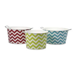 Chevron Round Tubs - Set of 3 - Bright chevron patterns adorn this set of three iron tubs. Use them for a pop of fun color in a kitchen, den or sun room to hold magazines, knitting supplies, kindling or knick knacks.