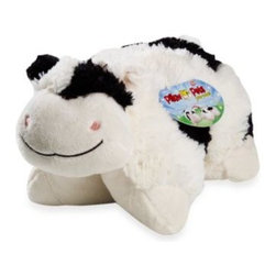 "Pillow Pets - Pillow Pets Pee-Wee in Cow - This delightful plush pet doubles as a cozy pillow, combining the functionality of a pillow with the serenity of a stuffed animal. Just un-Velcro its belly and the pet becomes an 11"" pillow."
