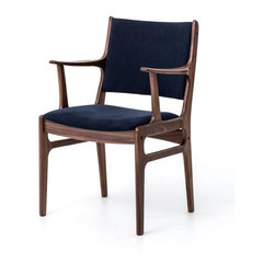 Four Hands - Bina Arm Chair - Who says a chair with history has to look dated? Made from reclaimed walnut and canvas using dovetail and miter joinery (look ma, no nails), whatever this hand-crafted beauty was in a past life, it now makes a handsome, versatile accent chair.