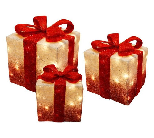 Alpine - Set of 3 White Christmas Presents with Red Bow and Lights - Features: