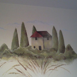 Large Tuscan farmhouse mural - This large mural was the finishing touch for a Tuscan style kitchen.