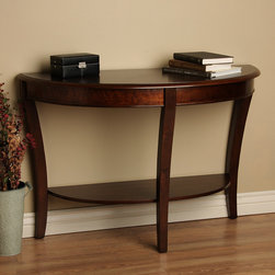 None - Half-round Sofa Table - Beautify your home with this half round wood console table. With a rich walnut finish and curved legs,this table will add a touch of sophistication to any room. A convenient shelf holds home decor,making this table as practical as it is elegant.