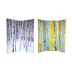 Oriental Unlimted - 6 ft. Tall Double Sided Birch Trees Room Divi - One double-sided divider, both sides shown in image. High quality wood & fabric covered room divider. Well constructed, extra durable, kiln dried Spruce wood frame panels. Covered top to bottom, front, back and edges, with tough stretched poly-cotton blend canvas. 63 in W (15 3/4 in per panel) x 70 7/8 in. H. Printed with fade resistant, high color saturation ink creating 2 stunning, long lasting, vivid images. Powerful visual focal points for any room. Amazingly inexpensive, practical, portable, decorative accessory. Almost entirely opaque, double layer of canvas, providing complete privacy. Easily block light from a bedroom window or doorway. Great home decor accent - for dividing a space, redirecting foot traffic, hiding unsightly areas or equipment. Provides a background for plants or sculptures, or use to define a cozy, attractive spot for table and chairs in a larger roomEvoke the placidity of the great outdoors with this serene double-sided room divider, featuring what naturalists consider to be two of the world's most beautiful trees - Aspens & Birches. The front image captures the splendor of an Aspen grove in fall, regal golden leaves still clinging to alabaster branches. On the back is a Birch grove in winter, denuded of leaves in new fallen snow. These classic arboreal images will bring subtle colors and natural shapes to your living room, bedroom, dining room, or kitchen. This 3 panel screen has different images on each side.