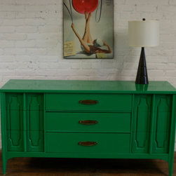 Dresser, Custom Order By Transformations - This green dresser can look manly with the right accessories, girly with different ones (think lilac table lamp or a creamy rug) or neutral. I love how versatile it is, and the details on the sides are just stunning.
