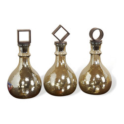 Interlude - Interlude Corbett Bottles - Set of 3 - The fanciful metal lids of this threesome of glass bottles are a stylish way to bring geometry into your home. Add to that the sunny shimmer of the glass and they make a standout set for your mantle, bookshelf or console table.