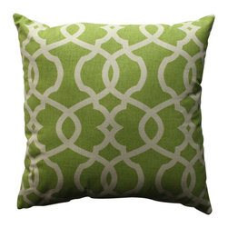 Pillow Perfect - Lattice Damask Green, Beige Pillow - - Pillow Perfect Lattice Damask Leaf 18-inch Throw Pillow  - Sewn Seam Closure  - Spot Clean Only  - Finish/Color: Green/Beige  - Product Width: 18  - Product Depth: 18  - Product Height: 5  - Product Weight: 1.5  - Material Textile: 100% Cotton  - Material Fill: 100% Recycled Virgin Polyester Fill Pillow Perfect - 512747