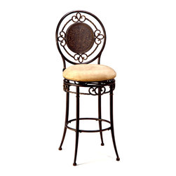 Hillsdale Furniture - Oval Back Metal Swivel Bar Stool - Richland - * SPECIAL PRICING WHEN YOU BUY 4 click here for details. Ornate medallion metal designed back. Built-in swivel mechanism. Buckskin faux suede fabric seat. Black gold finish. Assembly required. Bar Stool: 44.75H x 18W x 23D; Seat: 30HThe Richland stool has a unique character. The large medallion in the center of the back is reminiscent of a knight's shield, yet the ornamentation on the outer ring and base is as lovely a posy carried by a fair maiden. Enriched by the elegant black gold finish and soft buckskin seat, the Richland stool is an ideal addition to any home.