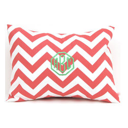 Monogrammed Coral Chevron Pillow Cover by Festive Home Decor - This coral chevron monogrammed pillow would be cute in a baby girl's nursery.
