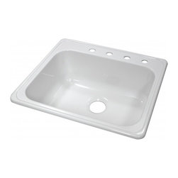 "Lyons - Lyons Deluxe DKS01X4 Acrylic Kitchen Sink - Lyons Industries Single Bowl white acrylic kitchen sink 9"" deep with four faucet holes. This standard self rimming 25""X22"" sink is easy to install as a remodel or new construction project. This sturdy sink has durable easy to clean high gloss acrylic construction with a fiberglass reinforced insulation backer. This sink is quiet and provides a superior heat retention than other sink materials meaning your dish water stays warm longer. Lyons sinks come with a simple mounting tab and clip system to firmly fasten the sink to the countertop and reinforced drain areas for safely supporting a garbage disposal. Detailed installation instructions include the cut-out specifications. Lyons sinks are proudly Made in America by experienced artisans supporting our economy."