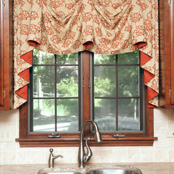 Kitchen - Board mounted windsor valance with contrasting lining used over kitchen sink.