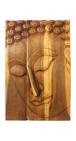 Kammika - Buddha Panel Pacceka Sust Wood 24 x 36 inch Hgt w Eco Friendly Livos Oak Oil Fin - This beautiful Buddha Panel Pacceka 24 inch length x 36 inch height x approximately 5 inch thickness, including the approximately 3 inch protruding nose, Sustainable Monkey Pod Wood in Eco Friendly, Natural Livos Oak Oil Finish Wall Panel presents Pacceka - the realization of the Dhamma is like a dream seen by a deaf mute. Referring to one who has attained to supreme and perfect insight, but who does so without proclaiming it to the world - hence the equivalent Silent Buddha often found in translations. This Pacceka Buddha wall panel has been carved from joined panels. The panel has two embedded flush mount Keyhole hangers on the topmost securing crossbar on the back for a protruding screw from your wall. Hand carved by craftspeople in Thailand, who spend hours shaping, sanding, and finishing these wonders of wood, these are made of Monkey Pod wood grown specifically for the woodcarving industry. Livos Oak oil creates a highly water resistant and food safe matte finish, these natural oils are translucent, so the wood grain detail is highlighted. The light and dark portions of wood turn to darker shades of brown over time and the alkaline in the oils creates a honey orange color. Each piece is crafted from sustainable wood; we make minimal use of electric hand sanders in the finishing process. All products are dried in solar or propane kilns. No chemicals are used in the process, ever. After each piece is carved, kiln dried, sanded, and rubbed with Livos Oak oil, they are packaged with cartons from recycled cardboard with no plastic or other fillers. The color and grain of your piece of Nature will be unique, and may include small checks or cracks that occur when the wood is dried. Sizes are approximate. Products could have visible marks from tools used, patches from small repairs, knot holes, natural inclusions or holes. There may be various separations or cracks on your pie