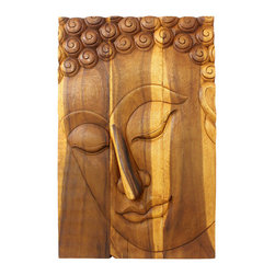 Kammika - Buddha Panel Pacceka Sust Wood 24 x 36 inch Hgt w Eco Friendly Livos Oak Oil Fin - This beautiful Buddha Panel Pacceka 24 inch length x 36 inch height x approximately 5 inch thickness, including the approximately 3 inch protruding nose, Sustainable Monkey Pod Wood in Eco Friendly, Natural Livos Oak Oil Finish Wall Panel presents Pacceka - the realization of the Dhamma is like a dream seen by a deaf mute. Referring to one who has attained to supreme and perfect insight, but who does so without proclaiming it to the world - hence the equivalent Silent Buddha often found in translations. This Pacceka Buddha wall panel has been carved from joined panels. The panel has two embedded flush mount Keyhole hangers on the topmost securing crossbar on the back for a protruding screw from your wall. Hand carved by craftspeople in Thailand, who spend hours shaping, sanding, and finishing these wonders of wood, these are made of Monkey Pod wood grown specifically for the woodcarving industry. Livos Oak oil creates a highly water resistant and food safe matte finish, these natural oils are translucent, so the wood grain detail is highlighted. The light and dark portions of wood turn to darker shades of brown over time and the alkaline in the oils creates a honey orange color. Each piece is crafted from sustainable wood; we make minimal use of electric hand sanders in the finishing process. All products are dried in solar or propane kilns. No chemicals are used in the process, ever. After each piece is carved, kiln dried, sanded, and rubbed with Livos Oak oil, they are packaged with cartons from recycled cardboard with no plastic or other fillers. The color and grain of your piece of Nature will be unique, and may include small checks or cracks that occur when the wood is dried. Sizes are approximate. Products could have visible marks from tools used, patches from small repairs, knot holes, natural inclusions or holes. There may be various separations or cracks on your piece when it arrives. There may be some slight variation in size, color, texture, and finish.Only listed product included.