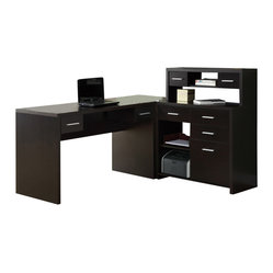 Monarch Specialties L-Shaped Home Office Desk in Cappuccino