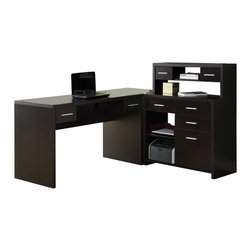Monarch Specialties - Monarch Specialties L-Shaped Home Office Desk in Cappuccino - The contemporary appeal of this dark cappuccino finish L-shape home office desk upgrades your home office with functional storage and workspace along with style. The spacious hollow-core desk and return gives you two work surfaces with room for a computer or laptop as well as a writing and reading space that you can use to spread out documents. The piece features an abundance of drawer storage, a hutch and open shelves that let you keep all of your essential supplies within easy reach. What's included: Computer Desk (1).