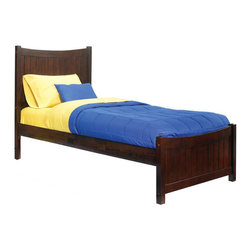 Atlantic Furniture - Twin Manhattan Platform Bed / Matching Footboard / Antique Walnut - This bed comes with Matching Footboard and available in Twin or Full size. Features Eco-friendly solid hardwood frame finished in Antique Walnut. This price is for Twin size Bed with Matching Footboard.
