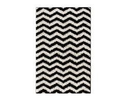 Nuloom - nuLOOM Luna Black and White Chevron Shag Rug (5' x 8') - Soft and plush, this NuLOOM shag rug features a bold black and white chevron pattern. The construction of this fun and fashionable area rug is sturdy and will stand the test of time.