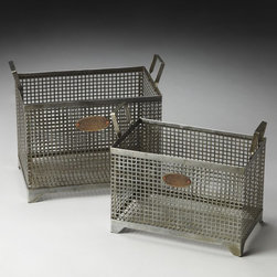 Butler - Butler Rowley Storage Baskets - Set of 2 Multicolor - 2549016 - Shop for Baskets from Hayneedle.com! Part-vintage and part-industrial the Butler Rowley Storage Baskets - Set of 2 is a great way to introduce industrial chic design into your living space. The sturdy metal mesh is built tough while the riveted bronze tags feature a floral motif and the word Vintage. The baskets are packaged as a set of two and you ll get one of each size. Home office bedroom bathroom - you just might need to order more than one set.About Butler SpecialtyButler Specialty Company has been designing and manufacturing high-quality occasional and accent furniture since 1930. Each piece reflects Butler's dedication to enduring design exquisite craftsmanship and top-quality materials. This family-owned company is based in Chicago. They scour the globe in search of the finest materials and most efficient means of production reflecting their commitment to providing excellent quality at exceptional value.