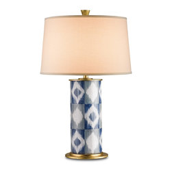 Currey & Company - Patterson Table Lamp - This stylish design reflects early American Modernism with ikat patterning in a lovely Blue/Gray/White color pallet. Made from a combination of metal and terracotta and featuring Contemporary Gold Leaf finish detail, the Patterson Table Lamp is fun-loving and avant-garde.