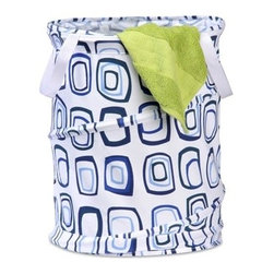 Medium Patterned Pop Open Hamper, Blue Squares - Honey-Can-Do HMP-01565 Medium Pop-Open Hamper, blue print.  Want a hamper with a big pop? Now you've got it. This mid-sized poly-cotton hamper pops-up to open and easily compresses flat when not in use. The cotton material is durable and stain resistant. Useful carrying handles make transporting clothes to the laundry room, Laundromat, or dry cleaner a breeze. Keep clothes off of the floor and your space neat and clean with this practical and fun hamper.