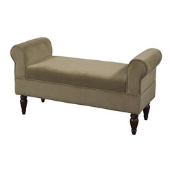 Linon - Lillian Bench in Coffee - Coffee Upholstery. Some Assembly Required. Dark Mahogany Feet Finish. 45.08 in. W x 16.93 in. D x 23.23 in. H (25 lbs)The Lillian Bench is ideal for providing seating to any bedroom, living room or entry area. Upholstered in a neutral coffee fabric, the bench has dark mahogany finished feet. The straight lined frame is accented by rolled sides adding a bit of classic styling to the piece.