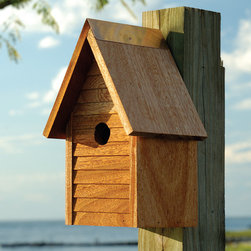 Starter Home Bird House - Mahogany - This picture perfect Starter Home Bird House is constructed of hand-oiled mahogany. Its strong, clean design features front lap siding and copper trimming as well as excellent drainage and ventilation for enjoyable, carefree birding.