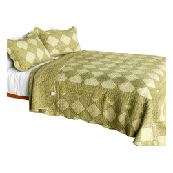 Blancho Bedding - Natural Grace 3PC Vermicelli-Quilted Plaid Patchwork Quilt Set  Full/Queen - Set includes a quilt and two quilted shams (one in twin set). Shell and fill are 100% cotton. For convenience, all bedding components are machine washable on cold in the gentle cycle and can be dried on low heat and will last you years. Intricate vermicelli quilting provides a rich surface texture. This vermicelli-quilted quilt set will refresh your bedroom decor instantly, create a cozy and inviting atmosphere and is sure to transform the look of your bedroom or guest room. Dimensions: Full/Queen quilt: 90 inches x 98 inches  Standard sham: 20 inches x 26 inches.