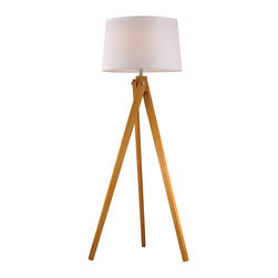 Dimond Lighting - Dimond Lighting D2469 Wooden Tripod 1 Light Floor Lamps in Natural Wood Tone - Wooden Tripod Floor Lamp