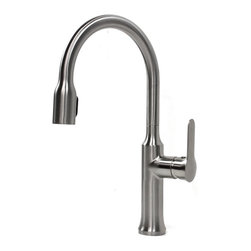 """Allora - Allora Citadel Design Lead Free Brushed Nickel Kitchen / Bar Faucet - This Allora citadel faucet combined sleek and minimalistic design with great functionality. Single Hole Installation. Swivel Spout with pull out sprayer. User friendly single level control. Dimensions 15"""" x 8""""."""