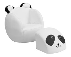 Flash Furniture - Flash Furniture Kids Panda Chair and Footstool - Kids will now get to enjoy furniture designed specifically for their size! This fun set features a chair and footstool. The footstool fits snug inside the chair for a clean appearance or for easy transporting. The soft ears on the back of the chair add an adorable characteristic. The vinyl upholstery ensures easy cleaning after accidents or for quick wipe offs.