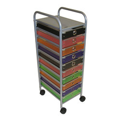 4D Concepts - 4D Concepts 10-Drawer Rolling Storage in Multi Color Drawers - With this 10 drawer ...
