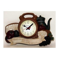 New Haven - Daily Bread Kitchen Wall Clock - Battery not included. Requires one AA battery. High quality quartz movement. Shapes of bread, alarm clock, tomatoes, grape and kettle. Made from injection plastic. 14.75 in. W x 1.75 in. D x 10 in. H