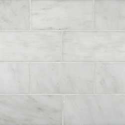 "Marbleville - MSI Arabescato Carrara 6"" x 12"" Polished Marble Floor and Wall Tile - Premium Grade Arabescato Carrara 6"" x 12"" Polished Mesh-Mounted Marble Mosaic is a splendid Tile to add to your decor. Its aesthetically pleasing look can add great value to the any ambience. This Mosaic Tile is constructed from durable, selected natural stone Marble material. The tile is manufactured to a high standard, each tile is hand selected to ensure quality. It is perfect for any interior/exterior projects such as kitchen backsplash, bathroom flooring, shower surround, countertop, dining room, entryway, corridor, balcony, spa, pool, fountain, etc."