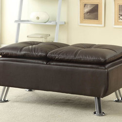 "Coaster - Brown Ottoman - Brown Ottoman. Style: Casual; Finish/Color: Brown; Upholstery: Leather like Vinyl; Dimensions: 44.50""L x 23.00""W x 18.75""H"
