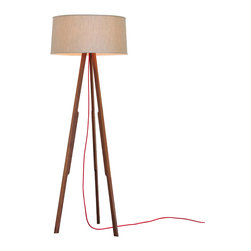 Ample - Solstice Floor Lamp, Linen Shade / Red Cord - This is it - the modern tripod lamp done right.
