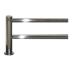 "Top Knobs - Hopewell Bath 18"" Double Towel Rod - Polished Chrome - Length - 19 1/2"", Projection - 5 7/8"", Center to Center - 18"", Bar Stock Diameter - 5/8"" Base Diameter - 1 1/2"" w (x) 1 1/2"" h"