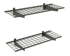 """HyLoft - HyLoft 45"""" x 15"""" Wall Mounted Shelves (Set of 2) - These shelves are made from strong, durable steel with patented low-profile brackets to increase storage space. The unit measures 45 by 15 inches. Each shelf can hold up to 150 pounds for storing heavy items like, tires, rims, off-season sporting equipment, off-season yard-maintenance gear, and more. It takes just one person to install, with all mounting hardware included."""