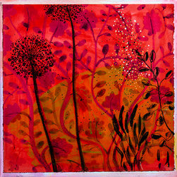 Sampler Series: Dandylion (Original) by Lynn Van Dewater Decew - The background patterns was inspired by Indian Sari silk and painted water color style on paper then adhered to canvas.  The flowers just grew up in front.