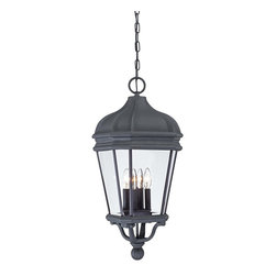 """Lamps Plus - Traditional Harrison 28 3/4"""" High Black Hanging Outdoor Light - A great choice for entryways and porches this hanging outdoor light is the perfect addition for your house. Finished in a rich black with clear glass this design is a versatile choice that matches nearly any home. From the Minka Lavery Harrison collection. Black finish outdoor hanging light. Clear beveled glass. Takes four 40 watt bulbs (not included). Includes chain. 28 3/4"""" high.  Black finish outdoor hanging light.  Clear beveled glass.  Takes four 40 watt bulbs (not included).  Includes chain.  Damp location rated only.  28 3/4"""" high."""
