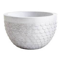 SCALLOPED PLANTER - SMALL - You've found the most perfect, gorgeous plant in the whole nursery, and now you just need the perfect planter to go with. It can't be too busy, since you want the attention directed to your fabulous find, but you don't want anything too plain-Jane either. This cement resin planter has the appearance of marble without the weight. With a beautifully scalloped body and wide band at the top, it's a planter that neither upstages nor fades into the background.